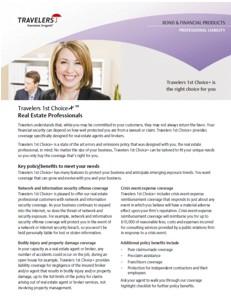 Travelers Insurance for Realtors Flyer